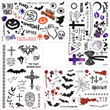 Waterproof Temporary Tattoo Sticker Halloween Masquerade Prank Makeup Props Over 60 halloween themed patterns designs on 4 Sheets