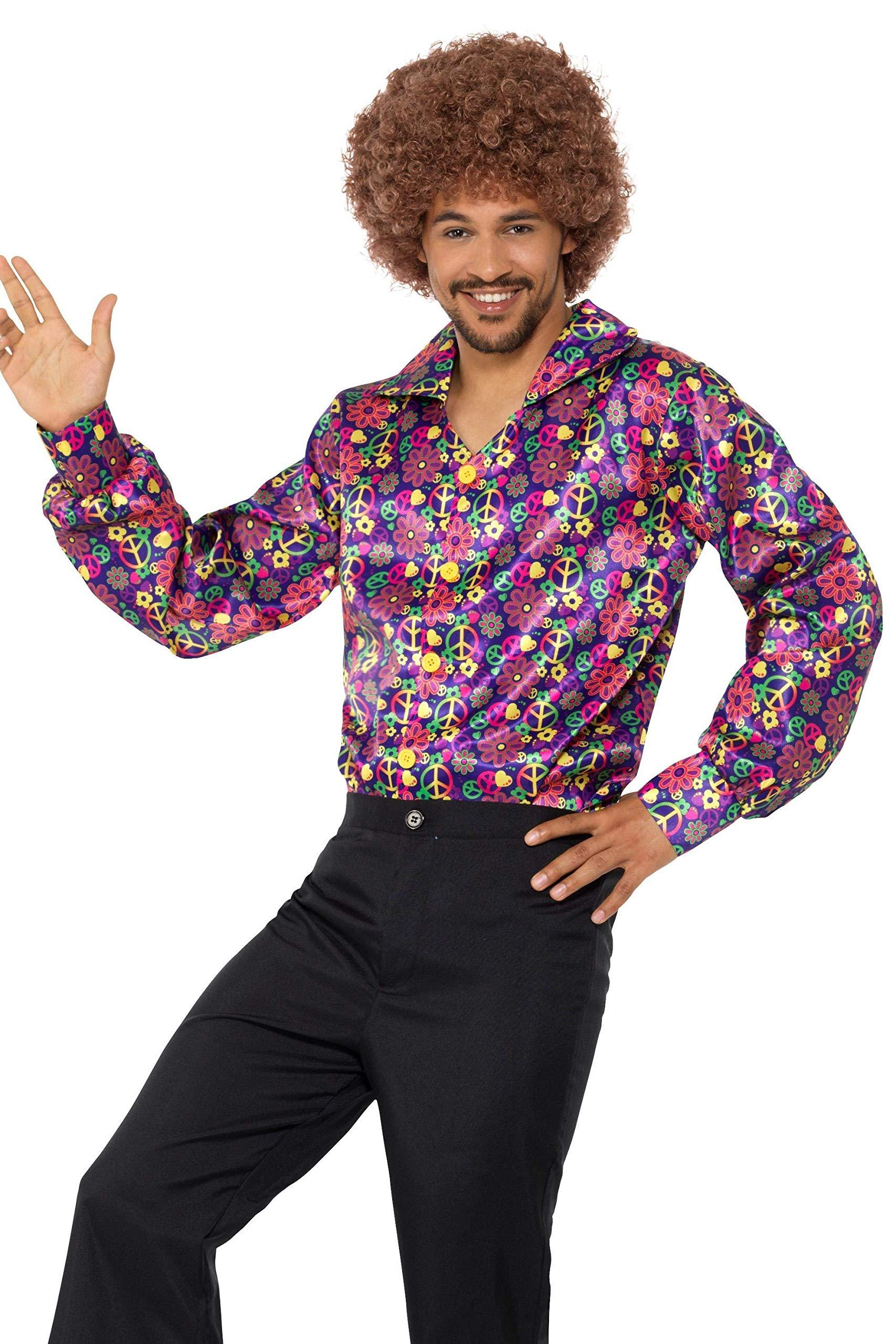 Smiffys Psychedelic Shirt 60s-Camiseta psicodélica CND, Multicolor, L-Size 42