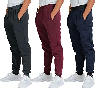 3 Pack: Boys Youth Active Athletic Soft Fleece Jogger...