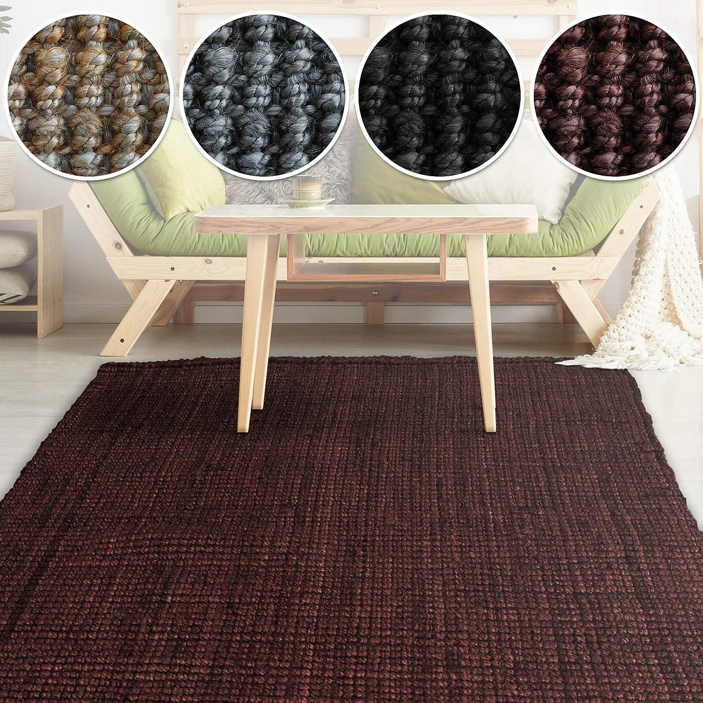 Casa pura Jute Teppich Webteppich aus Naturfaser  Moderner Juteteppich  Natürliche Sisal Optik für Wohnzimmer, Esszimmer und Flur  Groe Auswahl  Weinrot - 140x200 cm