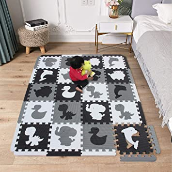 mshen tapis mousse puzzle bebe tapis de jeux bebe tapis de chambre le sport tapis tatami la taille 1 8 carre blanc noir blanc casse adl20s18