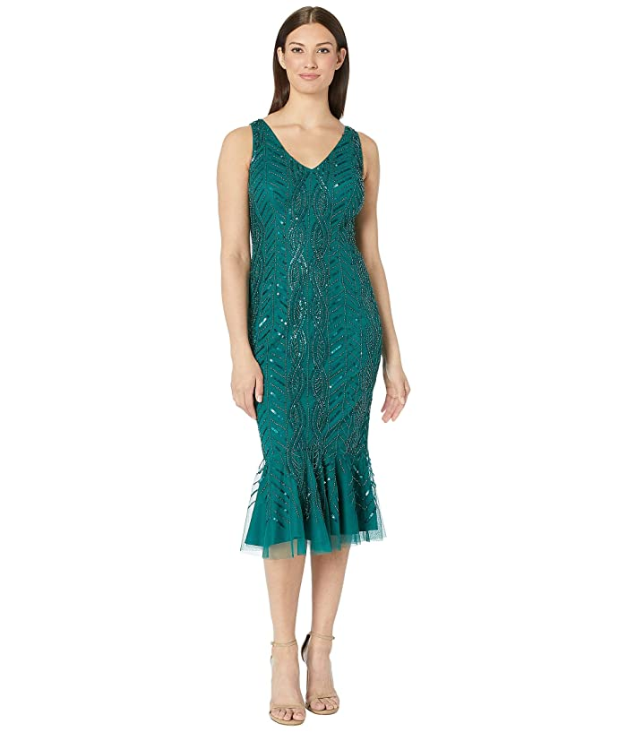 Flapper Dresses & Quality Flapper Costumes Adrianna Papell Mini Beaded Cocktail Dress with Flounced Hem Dark Jade Womens Dress $166.33 AT vintagedancer.com
