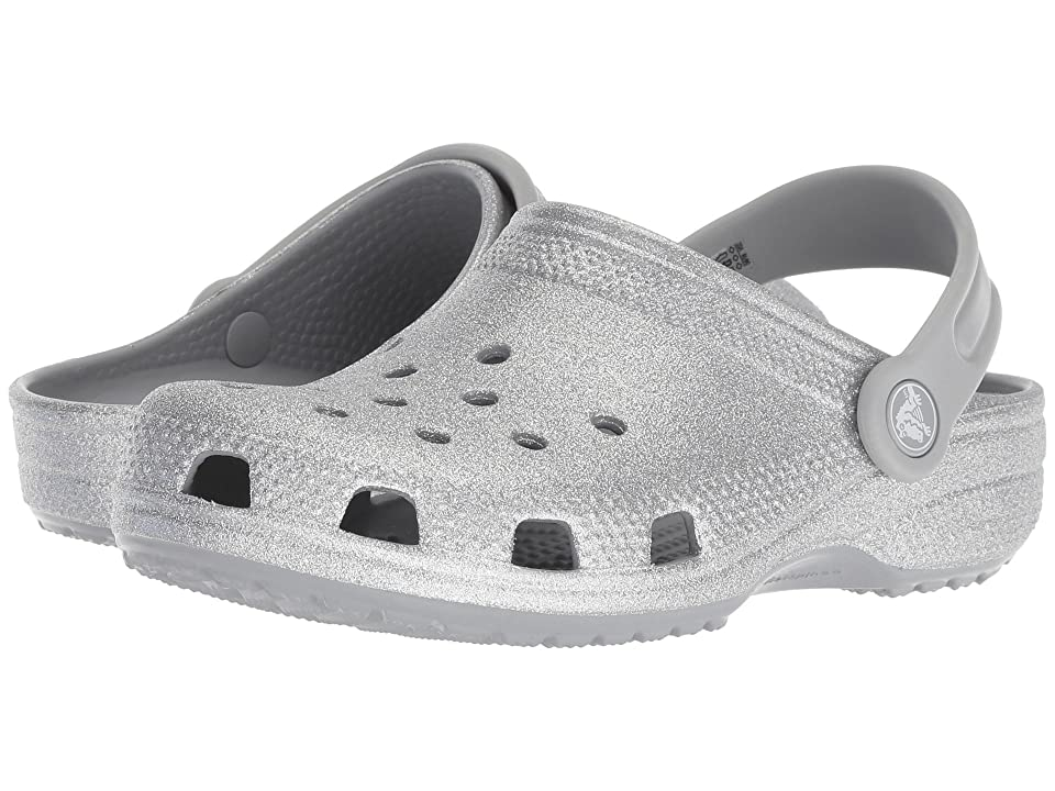 Crocs Kids Classic Glitter Clog (Toddler/Little Kid) (Silver) Kids Shoes