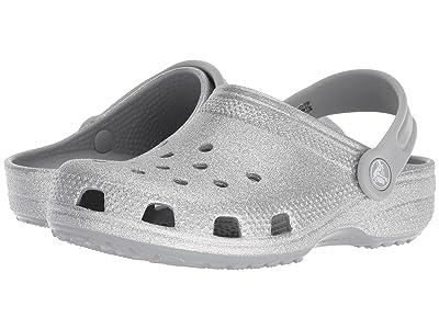 Crocs Kids Classic Glitter Clog (Toddler/Little Kid) (Silver) Girls Shoes