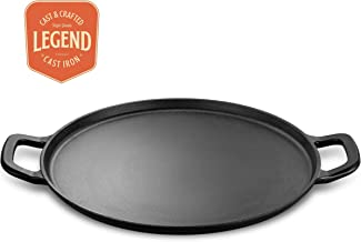 "Legend Cast Iron Pizza Pan | 14"" Steel Pizza Cooker with Easy Grip Handles 