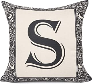 YOUR SMILE English Alphabet Letter Throw Pillow Case Modern Cushion Cover Square Pillowcase Decoration for Sofa Bed Chair Car 17 x 17 Inch (S)