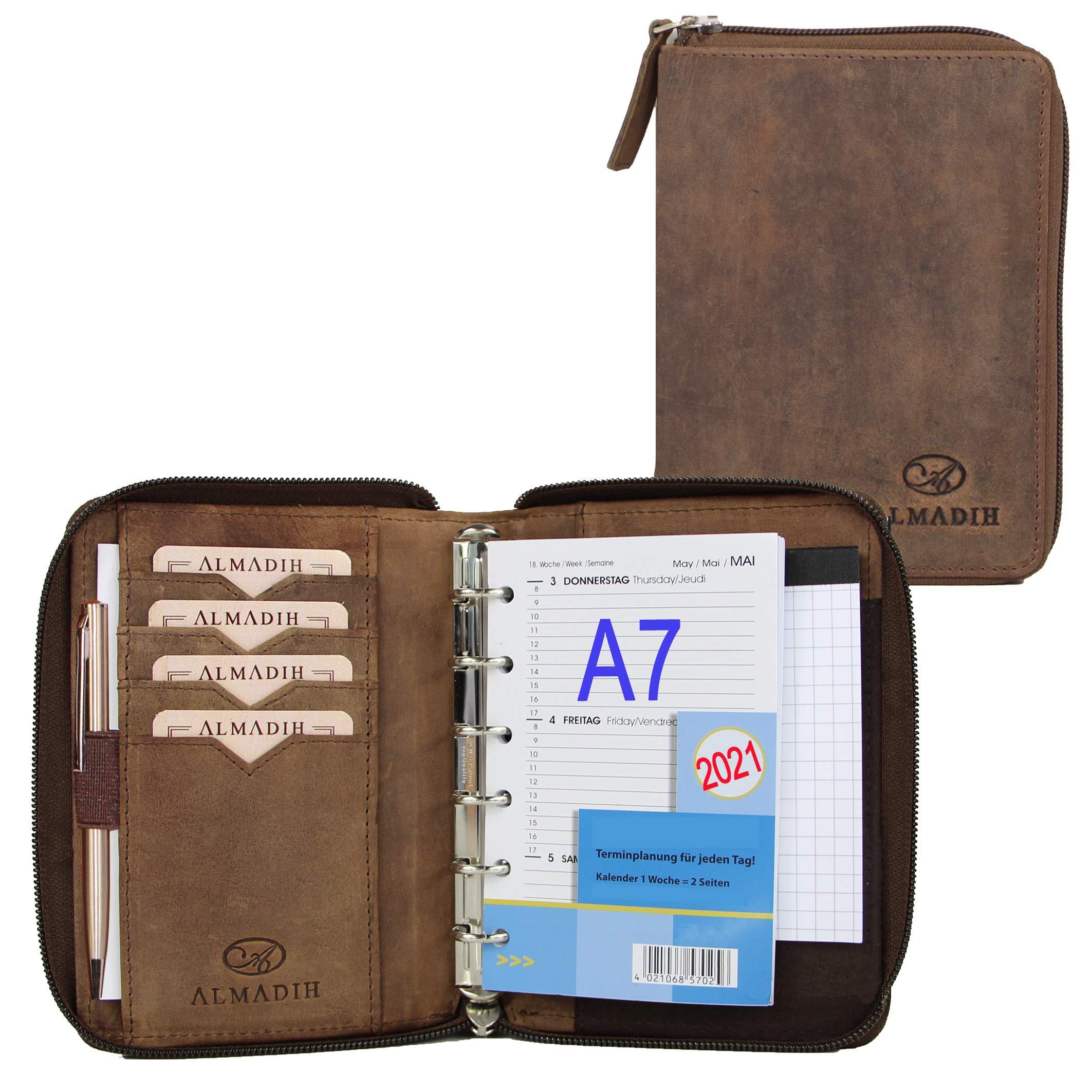 ALMADIH piel A7 Organizador 2020 & 2021 + Calendario + bloc de notas de piel marrón