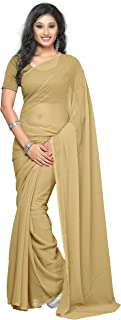 Women's Pure Chiffon Plain Solid Indian Saree with Unstitched Blouse Piece