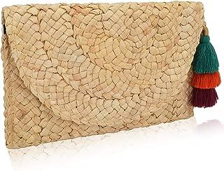 ELFJOY Women's Straw Clutch Bag Beach Purse with Tassel Envelope Handbag for Summer Wedding Gift