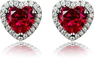 925 Sterling Silver 18k White Gold Plated 4.5ct Heart Ruby Sapphire Emarald Stud Earrings
