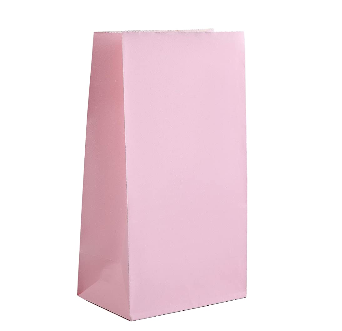Party Favor Bag - 50 Pack Baby Pink Paper Kraft Lunch Gift Bags for Princess 1st Birthday, Easter or Baby Shower - 5