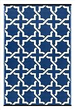 Green Decore Lightweight Outdoor Reversible Plastic Serene Rug (4 x 6, True Blue/White)
