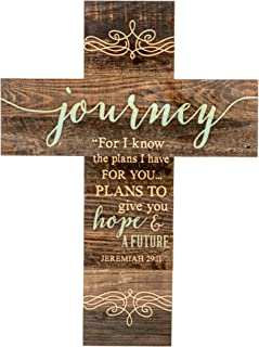 P. Graham Dunn Journey Rustic Dark 14 x 10 Wood Wall Art Cross Plaque