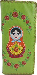 Beautiful Russian Nesting Doll and Flower Embroidered Large Wallet