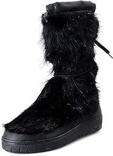 Men's Black Real Fur Snow Boots Shoes US 12 IT 45