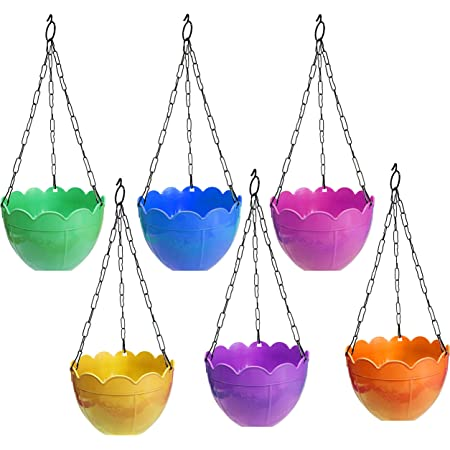 TechHark Plastic Hanging Planter, Assorted Colour, Standard Size, Pack Of 6
