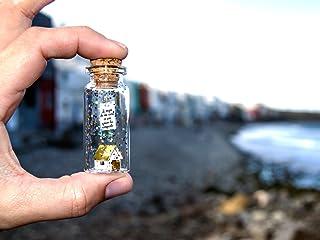 Lo mejor de mi casa es con quien la comparto. Mensaje en una botella. Miniaturas. Regalo personalizado. Divertida postal m...