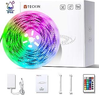 Tira LED decoracion de luces,TECKIN 5M led a prueba de agua RGB 150 LED multicolor 5050 iluminación para casa, fiestas, bares.Control remoto y 12V 2A fuente de alimentación, eficiencia energética.