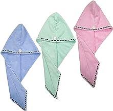 Polyte Microfiber Hair Turban Wrap Drying Towel, 25 x 66 cm, 3 Pack (Light Blue, Green, Pink)