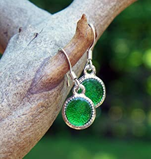 Recycled Vintage Green Beer Bottle Glass Color Dot Earrings