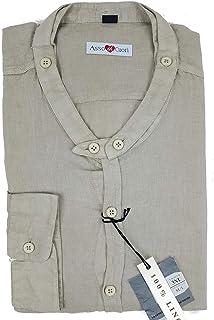 Camicia da uomo con colletto alla coreana in puro lino taglie forti over Alfio