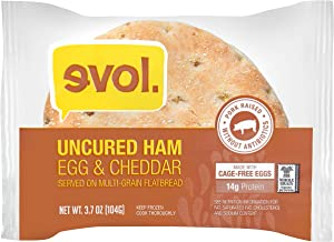 EVOL Uncured Ham and Egg Breakfast Sandwich, 12 Grams of Protein Per Serving, 5 Ounce (Frozen)