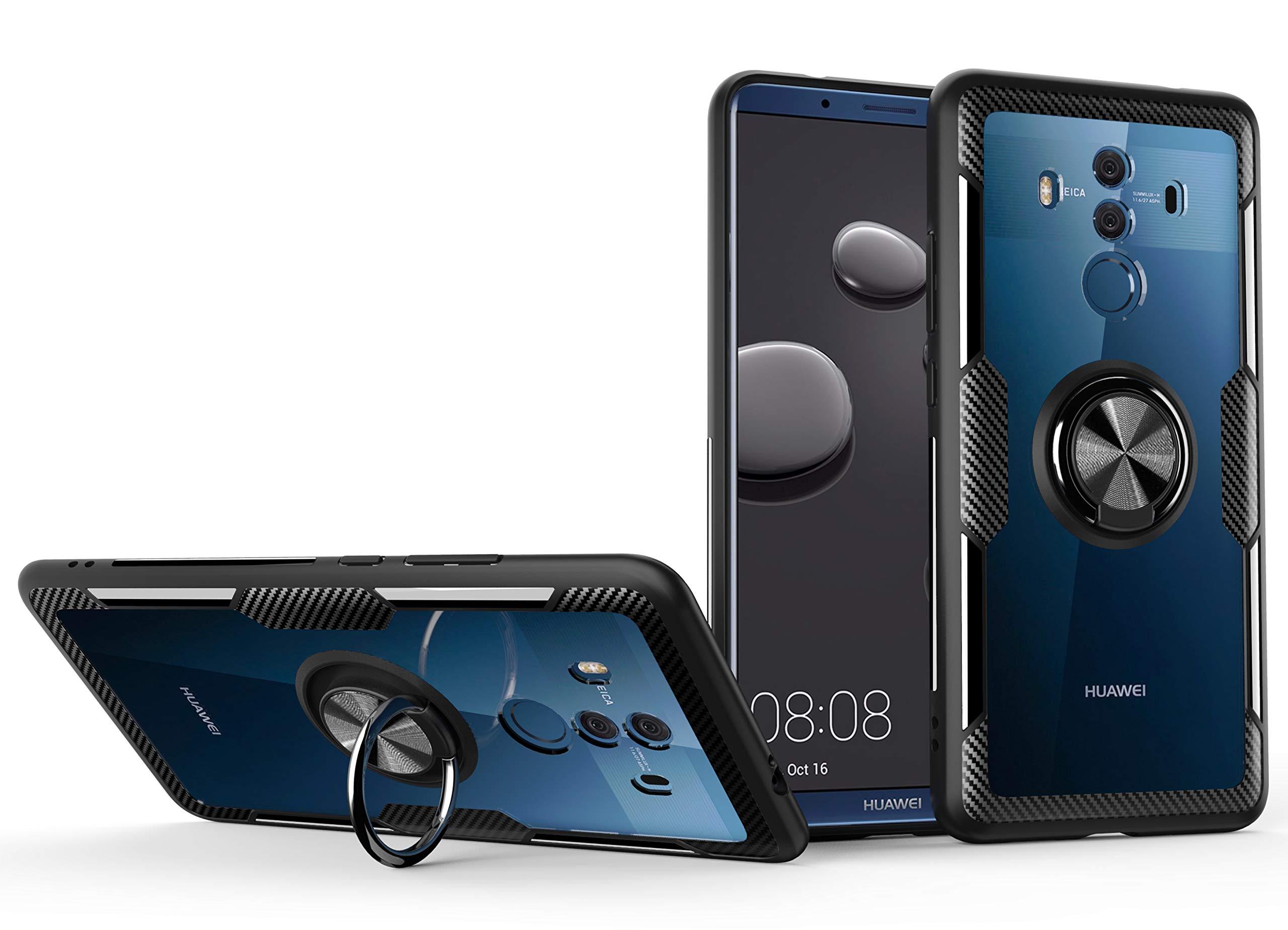 SORAKA Funda Transparente para Huawei Mate 10 Pro con Anillo Giratorio de 360 Grados Cubierta Transparente de PC Dura+Parachoques de Silicona,con Placa de Metal para Soporte Móvil Coche Magnético: Amazon.es: Electrónica