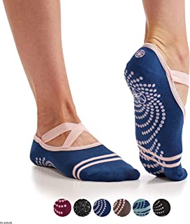 Gaiam Yoga Barre Socks | Non Slip Sticky Toe Grip Accessories for Women & Men | Pure Barre, Hot Yoga, Pilates, Ballet, Dance, Home for Balance & Stability | Available in Multiple Colors & Pack Sizes