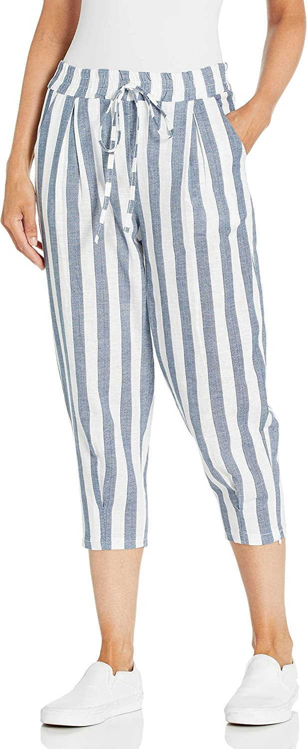 M Made in Italy Women's Linen Blend Striped Cropped Pants