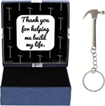 Dad Thank You Helping Me Build My Life Birthday Gifts Dad Daughter Gifts Hammer Keychain & Gift Box Bundle
