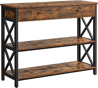 VASAGLE Table Console, Table d'entrée avec 2 tiroirs, Buffet à 3 Niveaux, Cadre en Acier en Forme de X, pour Couloir, Salo...