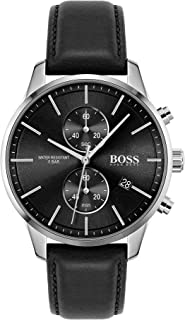 Hugo Boss Black Men'S Black Dial Black Leather Watch - 1513803