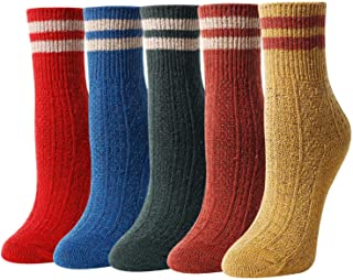 Women's Soft Warm Thick Knit Wool Cozy Crew Socks 5 Pack Colorful Casual Fall Winter Socks