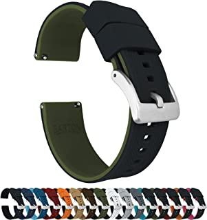 21mm Black/Army Green - Barton Elite Silicone Watch Bands - Quick Release - Choose Strap Color & Width