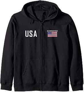 American Flag Gymnastics Hooded Cool Gym Men Women Gift Zip Hoodie