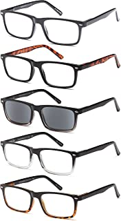 Gamma Ray Men's Reading Glasses - 5 Pairs Readers for Men - Includes Sun Readers