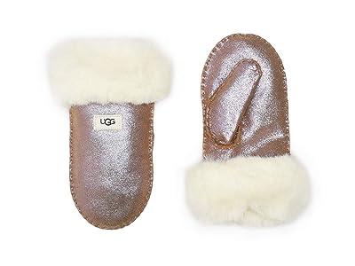 UGG Kids Suede Mitten with Sherpa Lining (Toddler/Little Kids) (Chestnut Fuchsia) Over-Mits Gloves