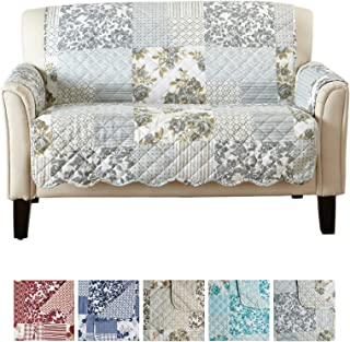 Patchwork Scalloped Printed Furniture Protector. Stain Resistant Loveseat Cover. (Loveseat, Grey)