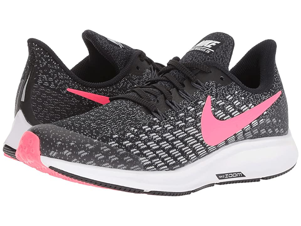 Nike Kids Air Zoom Pegasus 35 (Little Kid/Big Kid) (Black/Racer Pink/White/Anthracite) Girls Shoes