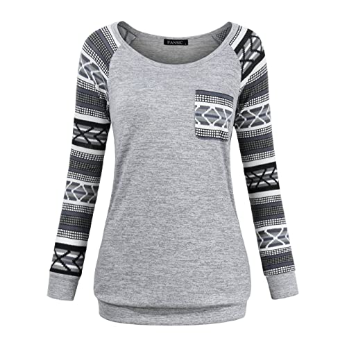 16ac70fac91be0 FANSIC Women Casual Long Sleeve Knitted Raglan Shirts Pullover Sweater Tops  Pocket