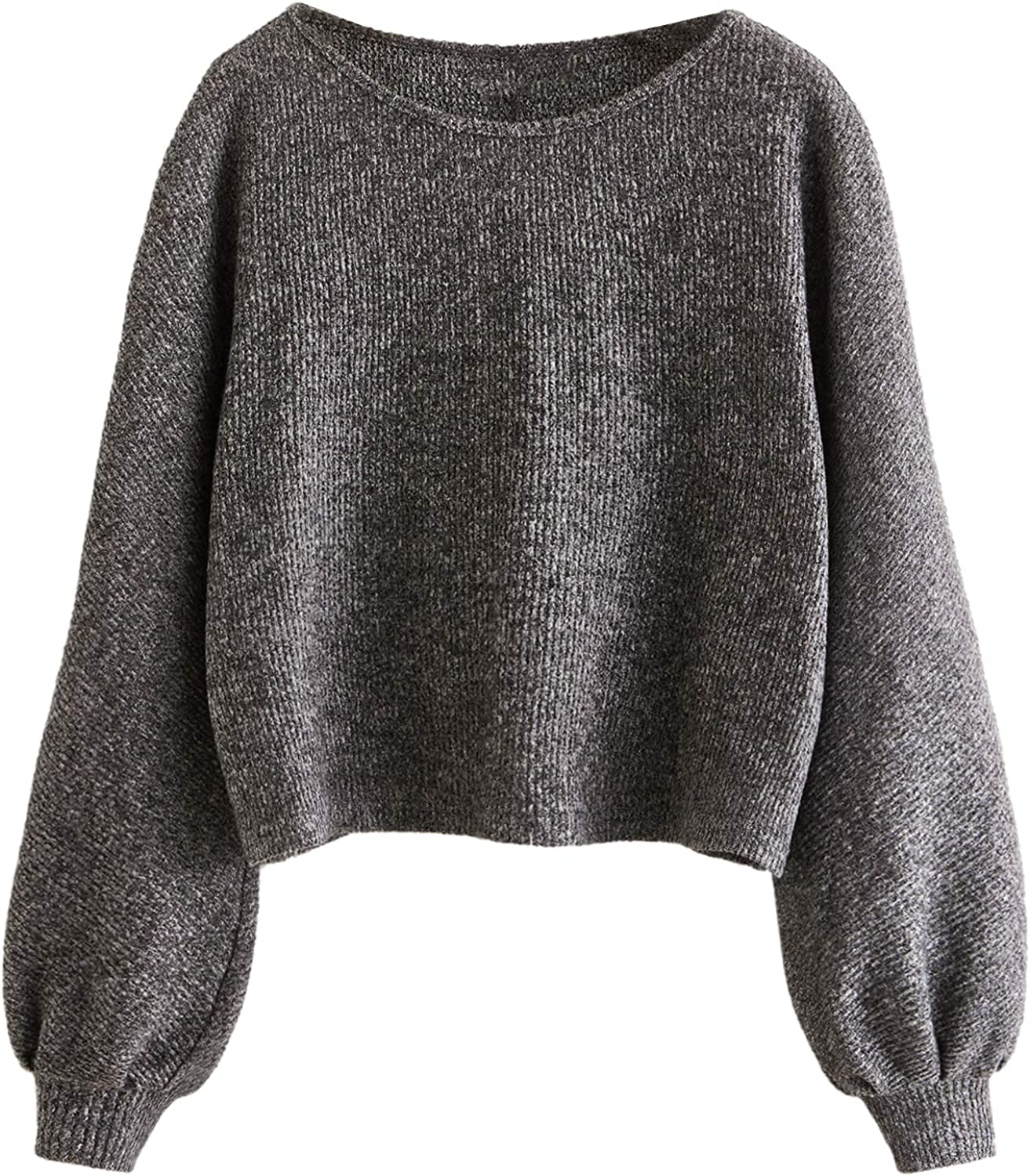 Floerns Women's Solid Boat Neck Long Lantern Sleeve Pullover Thin Sweater Top