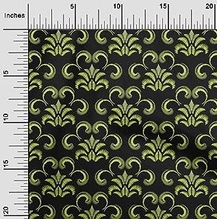 oneOone Viscose Chiffon Fabric Swirl & Floral Artistic Printed Fabric 1 Yard 42 Inch Wide