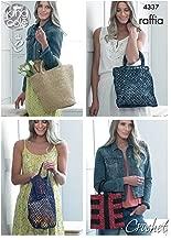 King Cole Ladies Raffia Crochet Pattern Womens Crocheted Tote Square Shopping & Striped Bag (4337)