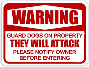 Honey Dew Gifts Dog Sign, Warning Guard Dogs on Property 9 inch by 12 inch Metal Aluminum Beware of Dog Signs for Fence, Made in USA
