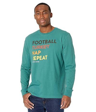 Life is Good Football Turkey Nap Repeat Long Sleeve Crushertm Tee (Spruce Green) Men