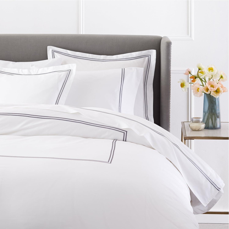 Pinzon 400-Thread-Count Egyptian Cotton Sateen Hotel Stitch Duvet Cover - Full Queen, Silver Grey