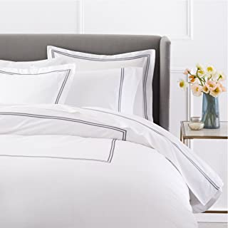 Pinzon 400-Thread-Count Hotel Stitch Duvet Cover, Cotton, Silver Grey, King