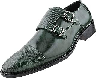 Bolano Bancroft - Men's Reptile Print Dress Shoes, Double Monkstrap Formal Mens Shoes, Embossed Cap Toe - Designer Shoes - Manmade Leather Shoes for Men
