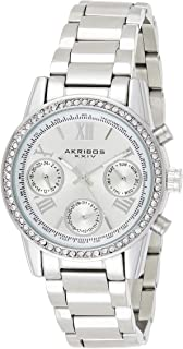 Akribos XXIV Women's Quartz Watch with Silver Dial Analogue Display and Silver Stainless Steel Bracelet AK872SS