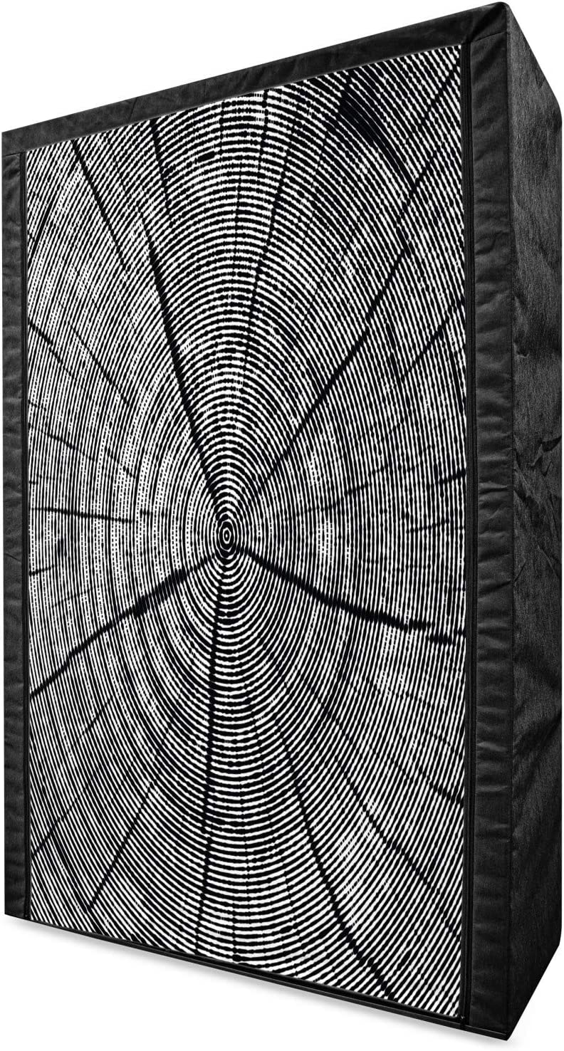 Lunarable Wood Print Portable Los Angeles Mall Fabric of a Sketch Wardrobe Super-cheap Tree